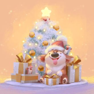 Фото Собака породы корги сидит у новогодней елки с мышкой на ней, by Lynn Chen