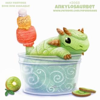 Фото Зеленый динозаврик с киви и мороженным (Ankylosaurbet), by Cryptid-Creations
