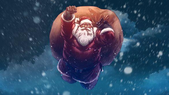 Фото SuperSanta / Супер Санта летит в ночном небе с мешком подарков
