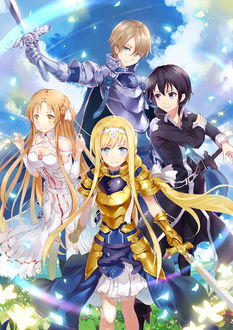 Фото Kirito / Кирито, Asuna / Асуна, Eugeo / Юджио, Alice / Алиса арт аниме Sword Art Online Alicization / Мастера Меча Онлайн Алисизация