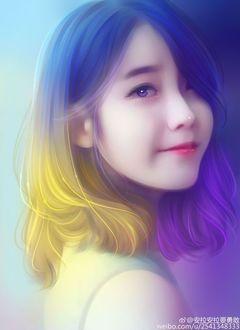 Фото Азиатка с желто-фиолетовыми волосами улыбается