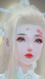 Фото Светловолосая азиатка с заколотыми волосами