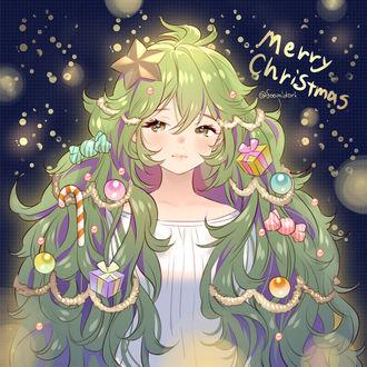 Фото Анимешная девушка с длинными зелеными волосами, наряженная как новогодняя елка (Merry Christmas / Счастливого Рождества), art by Foo Midori