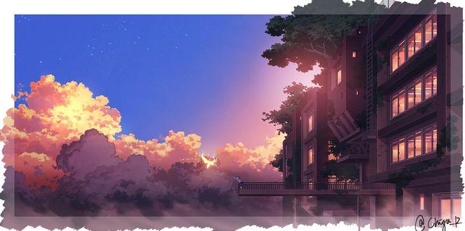 Фото Девушка стоит на фоне облачного неба, by Chigu