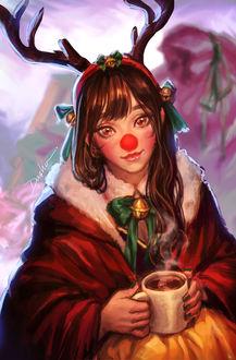 Фото Девушка с красными носом и оленьими рожками держит в руках чашку с горячим напитком, by Dasha Park