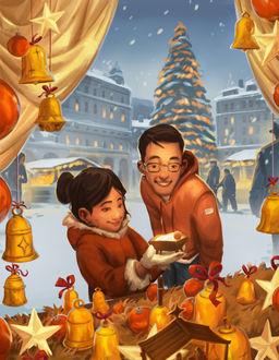 Фото Пара покупает на новогодней ярмарке сувениры в честь Рождества, by Andrew Bosley