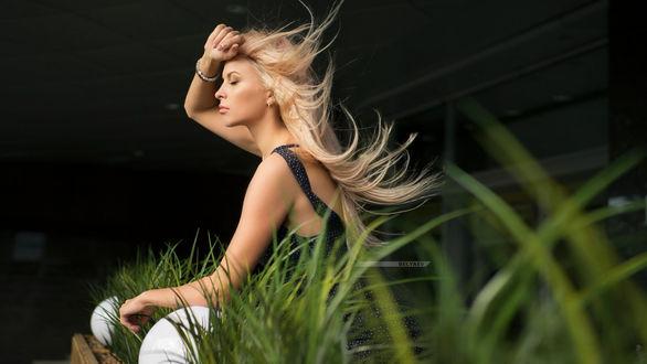 Фото Модель Даша сидит в траве. Фотограф Дмитрий Беляев