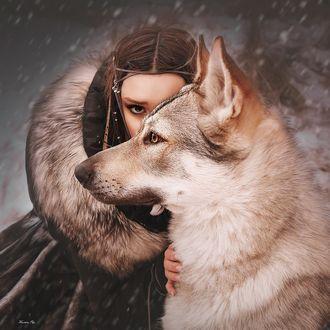 Фото Модель Виктория Чирцова с собакой, Ольга фотограф А Кравцова (Баранова)
