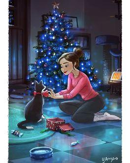 Фото Девочка поправляет кошке бабочку, сидя на полу в комнате с елкой, by yaoyaomva