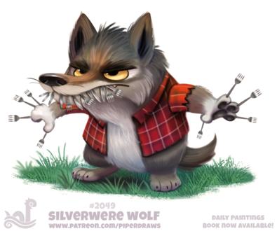 Фото Волк в клетчатой рубашке и набором вилок в пасти и на лапах (Silverwere Wolf), by Cryptid-Creations