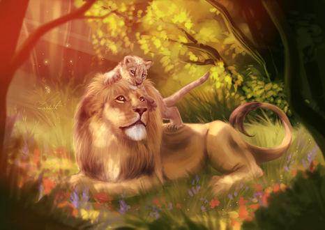 Фото Лев со львенком на лесной поляне, by Martith