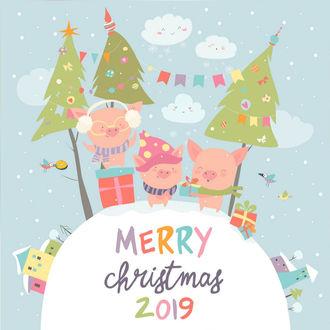 Фото Три поросенка весело встречают Новый год под елками с подарками, Merry Christmas / Счастливого Рождества 2019