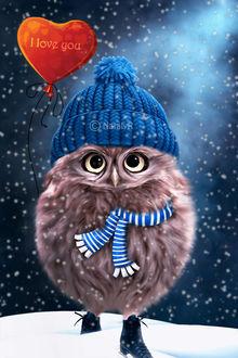 Фото Сова в шапке и шарфе, с воздушным шаром, (I love you! / я люблю тебя), by Nataly1st (© zmeiy), добавлено: 29.12.2018 21:51