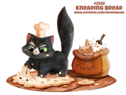 Фото Зеленоглазый черный кот в шапочке повара месит тесто-котенка, сзади стоит мешок с готовыми тесто-котятами (Kneading Bread), by Cryptid-Creations (© Мася-тян), добавлено: 30.12.2018 00:56
