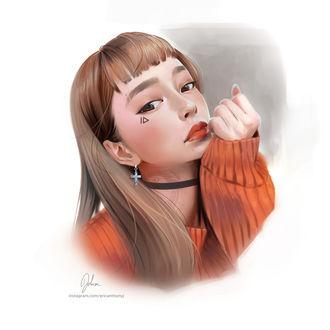 Фото Девушка держит руку у лица, by ericanthonyj