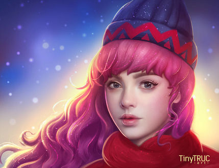 Фото Девушка с розовыми волосами, в шапке и шарфе, by TinyTruc