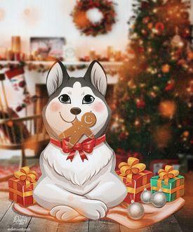 Фото Собака с новогодним печеньем в комнате с новогодней елкой, by dariart. art