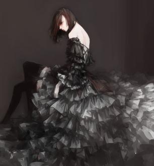 Фото Девушка в черном плтье