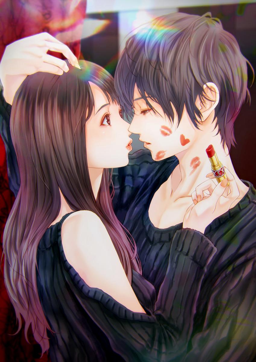 Аниме фото парень и девушка обнимаются