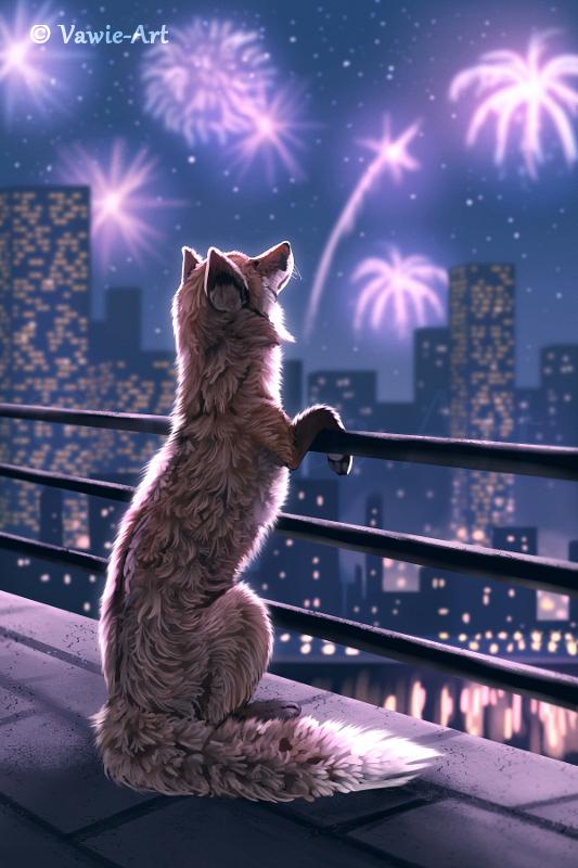 Фото Лиса смотрит на фейерверк в ночном небе, by Vawie-Art
