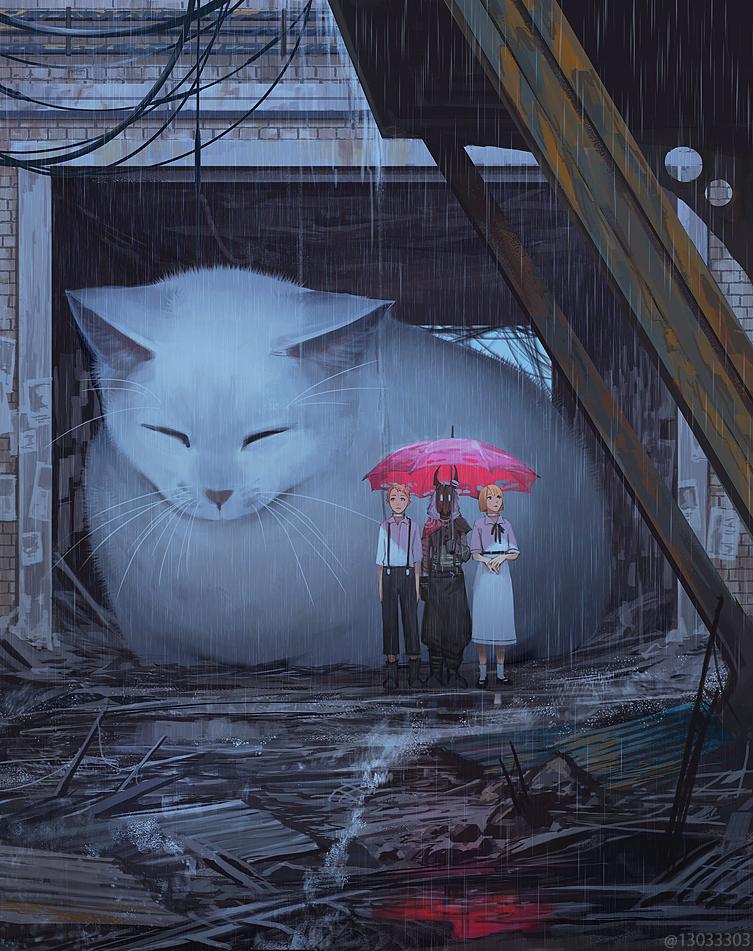 рисунки огромных котов его сложено