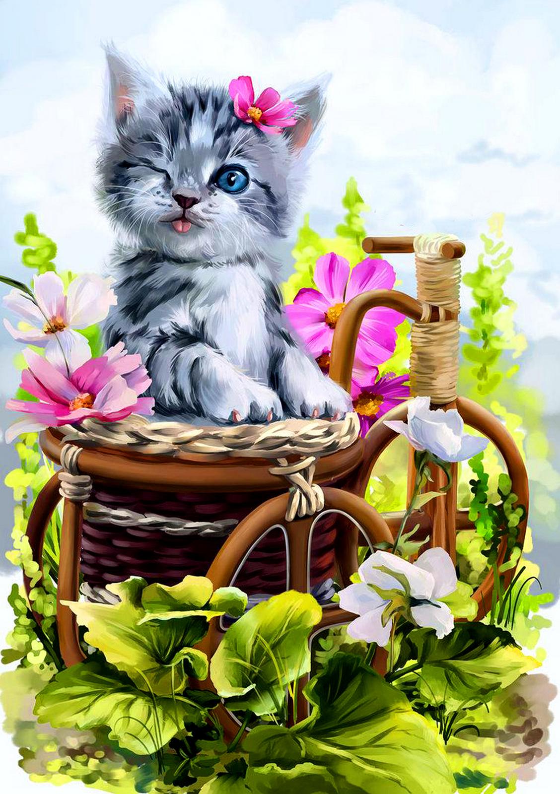 Надписью, картинки с добрым утром котики с цветами