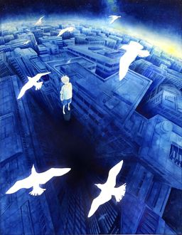 Фото Мальчик парит над городом и смотрит на летающих над ним голубей