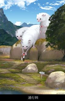 Фото Дети угощают фантастических белых животных