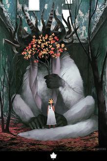 Фото Рогатое сказочное животное прикрывает мордочку веткой с осенними листьями, а девочка стоящая у его лап прикрывает лицо кленовым листочком