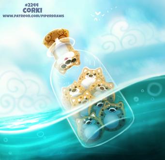 Фото Корги в бутылке на воде (Corki), by Cryptid-Creations