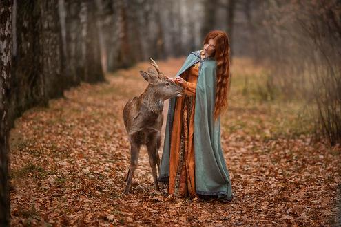 Фото Девушка с длинными волосами стоит рядом с олененком. Фотограф Бармина Анастасия