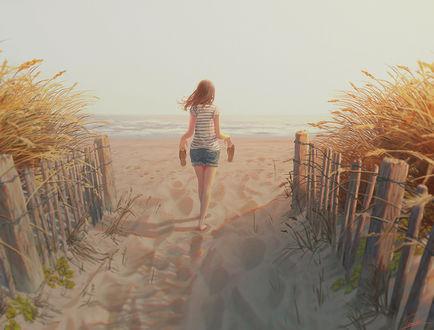 Фото Девушка с тапочками в руках идет по песку к морю, art by Tamaki