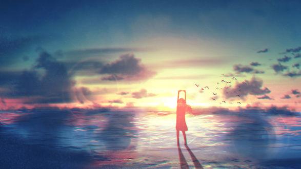 Фото Девушка стоит в море, art by Tamaki