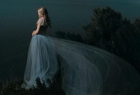 Фото Девушка в длинном платье стоит на фоне озера, by Nikki Harrison