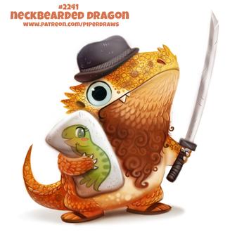 Фото Дракончик с шляпке держит в одной лапке катану, а в другой подушку (Neckbearded Dragon), by Cryptid-Creations