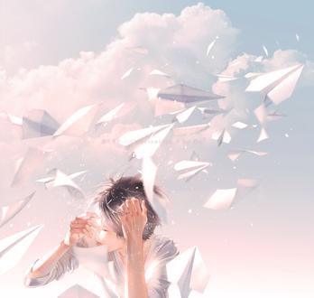 Фото Мимо парня, прикрывшего рукой глаза, пролетают бумажные самолетики, by Re°