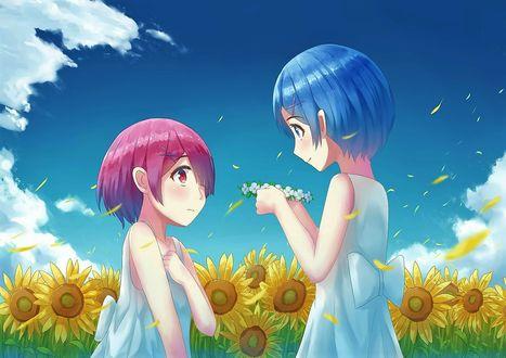Фото Rem / Рем сплела сестренке Ram / Рам венок из цветов аниме Re: Zero kara Hajimeru Isekai Seikatsu / Re: Жизнь в альтернативном мире с нуля