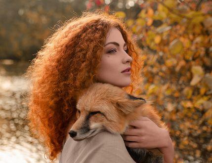 Фото Модель Елизавета Васина с лисой на плече. Фотограф Олег Демьянченко