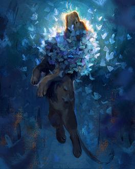 Фото Лев с голубыми бабочками в гриве парит в воздухе, by TamberElla