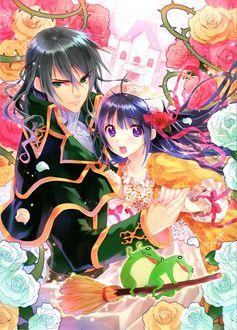 Фото Принц с принцессой среди разноцветных роз на фоне замка, by Akira Kusakabe