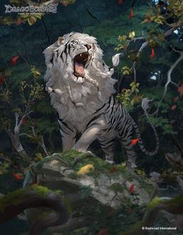 Фото Лев с окрасом тигра с открытой пастью стоит в лесу, иллюстратор Rudy Siswanto