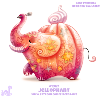 Фото Слоник с ложкой на белом фоне (Jellophant), by Cryptid-Creations