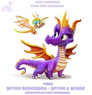 Фото Два дракончика на белом фоне (Spyro Redesigns - Spyro and Sparx), by Cryptid-Creations