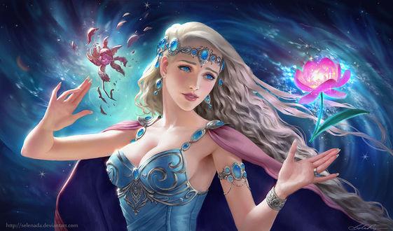 Фото Девушка с длинными волосами с цветком над рукой, by Selenada