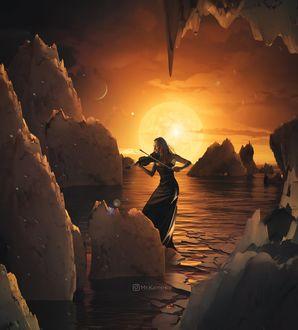 Фото Девушка со скрипкой на фоне заката в окружении льдов, цифровой художник Mr. Kalopsia