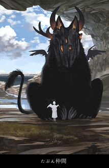 Фото Девушка-ангел стоит перед огромный черным монстром