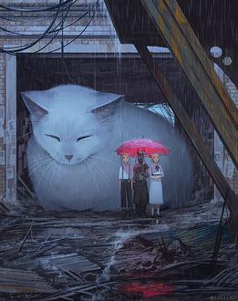 Фото Трое детей, один из которых в рогатой маске, и огромный белый кот скрываются от дождя в руинах