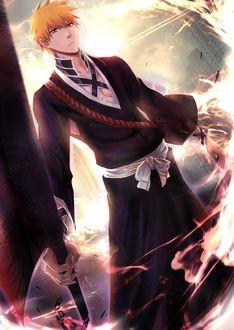 Фото Kurosaki Ichigo / Куросаки Ичиго с мечем в руке из аниме Bleach / Блич