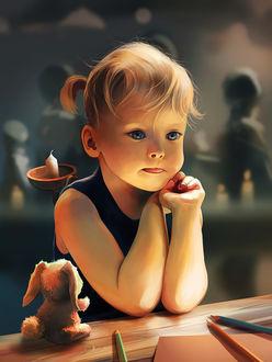 Фото Милая девочка сидит за столом рядом с кроликом, by AquaSixio