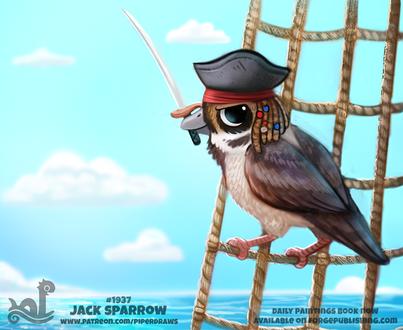 Фото Птица в образе Captain Jack Sparrow / Капитан Джек Воробей из фильма Pirates of the Caribbean / Пираты Карибского моря (Jack Sparrow), by Cryptid-Creations